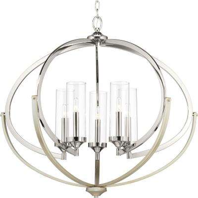 Evoke Collection 5-Light Polished Nickel Chandelier