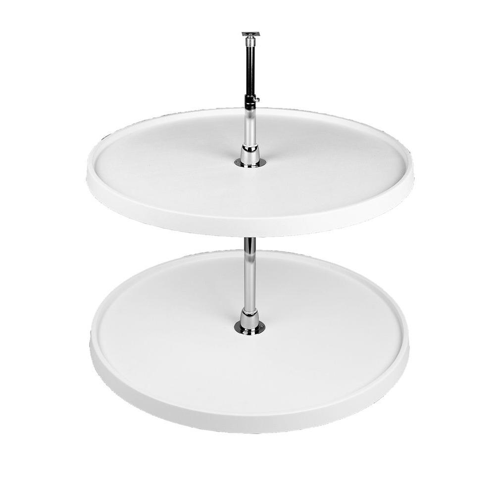 Rev-A-Shelf 26 in. H x 20 in. W x 20 in. D White Polymer 2-Shelf Full Circle Lazy Susan Set