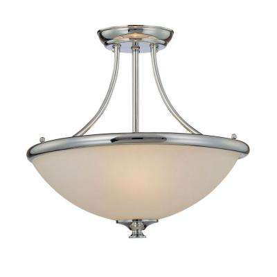 3-Light Chrome Semi Flush Mount with Etched White Glass