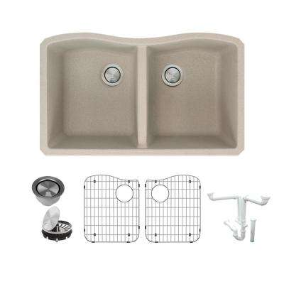 Aversa All-in-One Undermount Granite 32 in. Equal Double Bowl Kitchen Sink in Cafe Latte