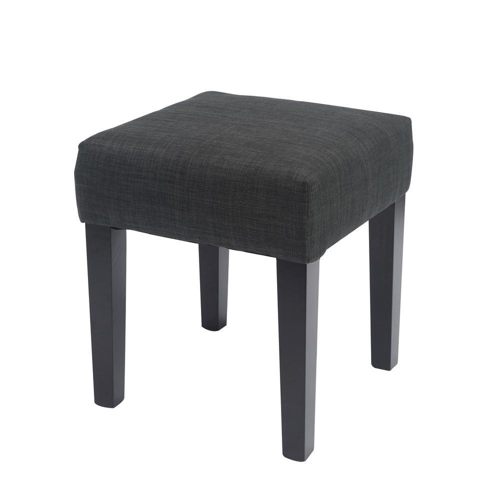 "Antonio 16"" Square Bench in Dark Grey Fabric"