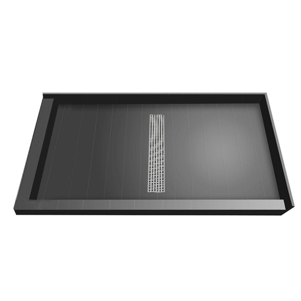 Redi Trench 34 in. x 60 in. Double Threshold Shower Base with Center Drain and Brushed Nickel Trench Grate