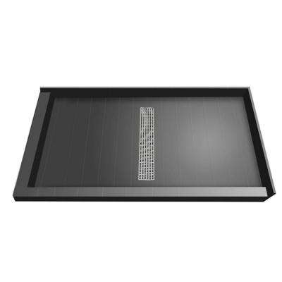 36 in. x 48 in. Double Threshold Shower Base with Center Drain and Brushed Nickel Trench Grate