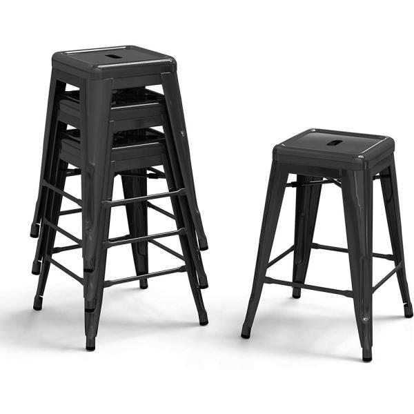 24 in. Black Metal Bar Stools Stackable Counter Backless Height Bar Stools (Set of 4)