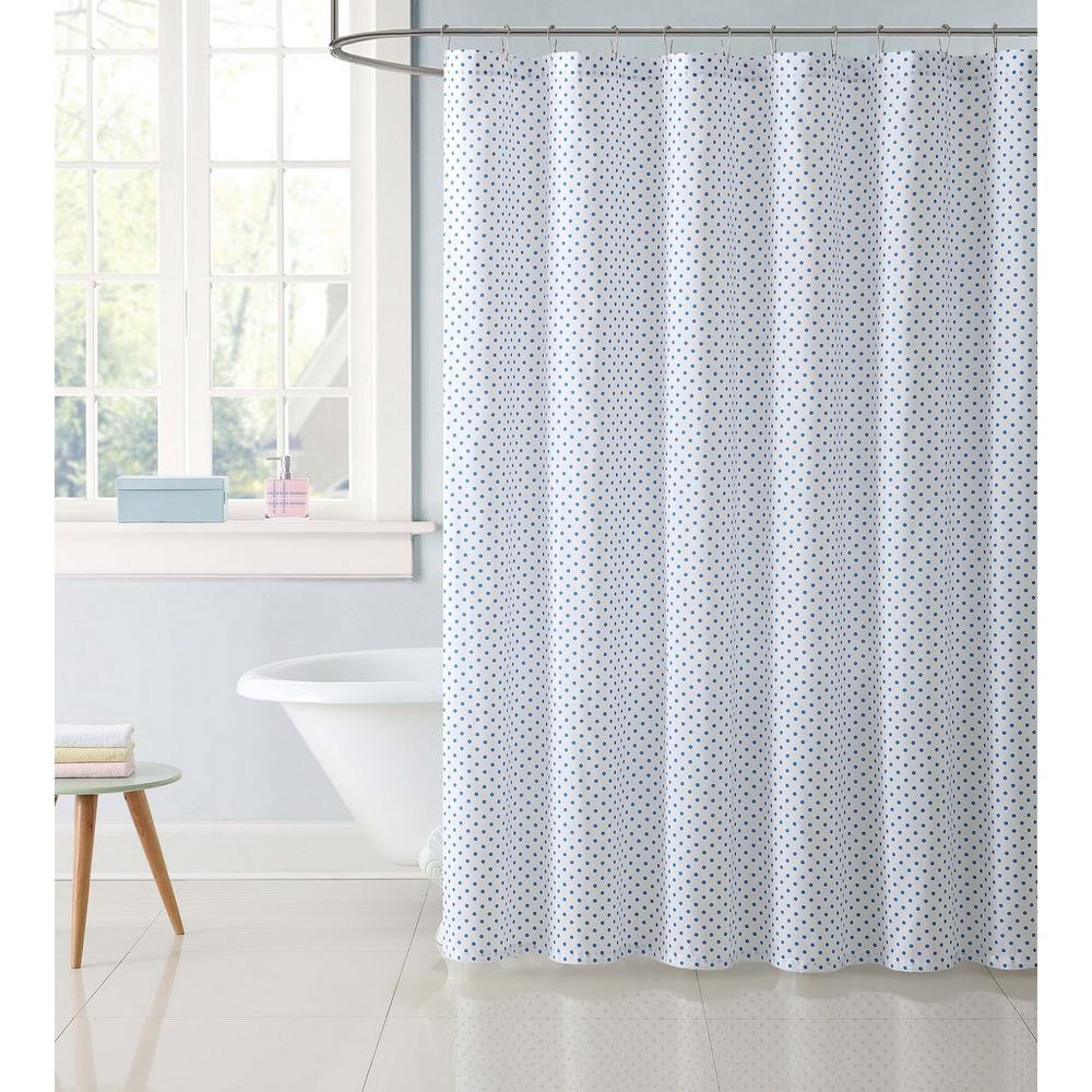 72 in. Dot Blue Shower Curtain