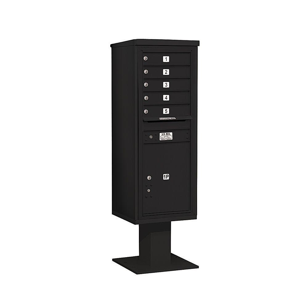 3400 Series 63-1/4 in. 13 Door High Unit Black 4C Pedestal Mailbox with 5 MB1 Doors/1 PL6