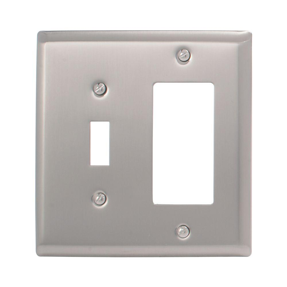 Amerelle Madison 1 Toggle 1 Decora Wall Plate - Polished Nickel
