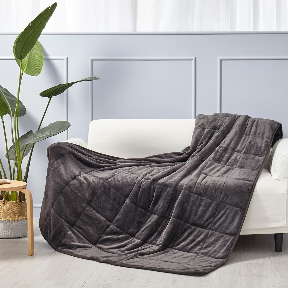 Puredown Velvet 7 Pound Weighted Blanket In Dark Grey