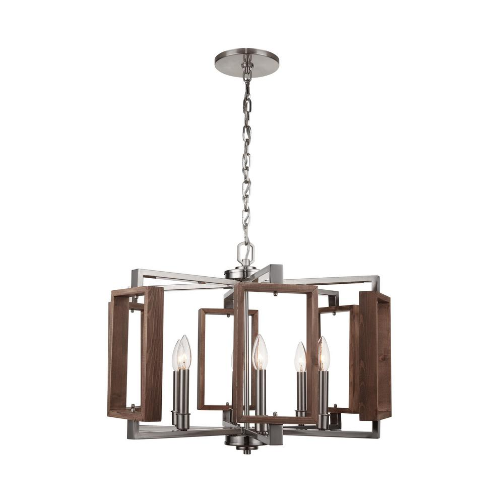 Home Decorators Collection Zurich 6-Light Brushed Nickel Chandelier with Wood Accents