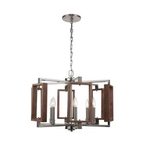 Zurich 6-Light Brushed Nickel Chandelier with Wood Accents