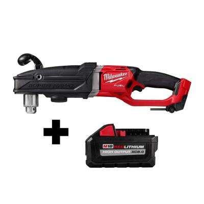 M18 FUEL 18-Volt Lithium-Ion Brushless Cordless GEN 2 Super Hawg 1/2 in. Right Angle Drill with Free 8.0 Ah Battery