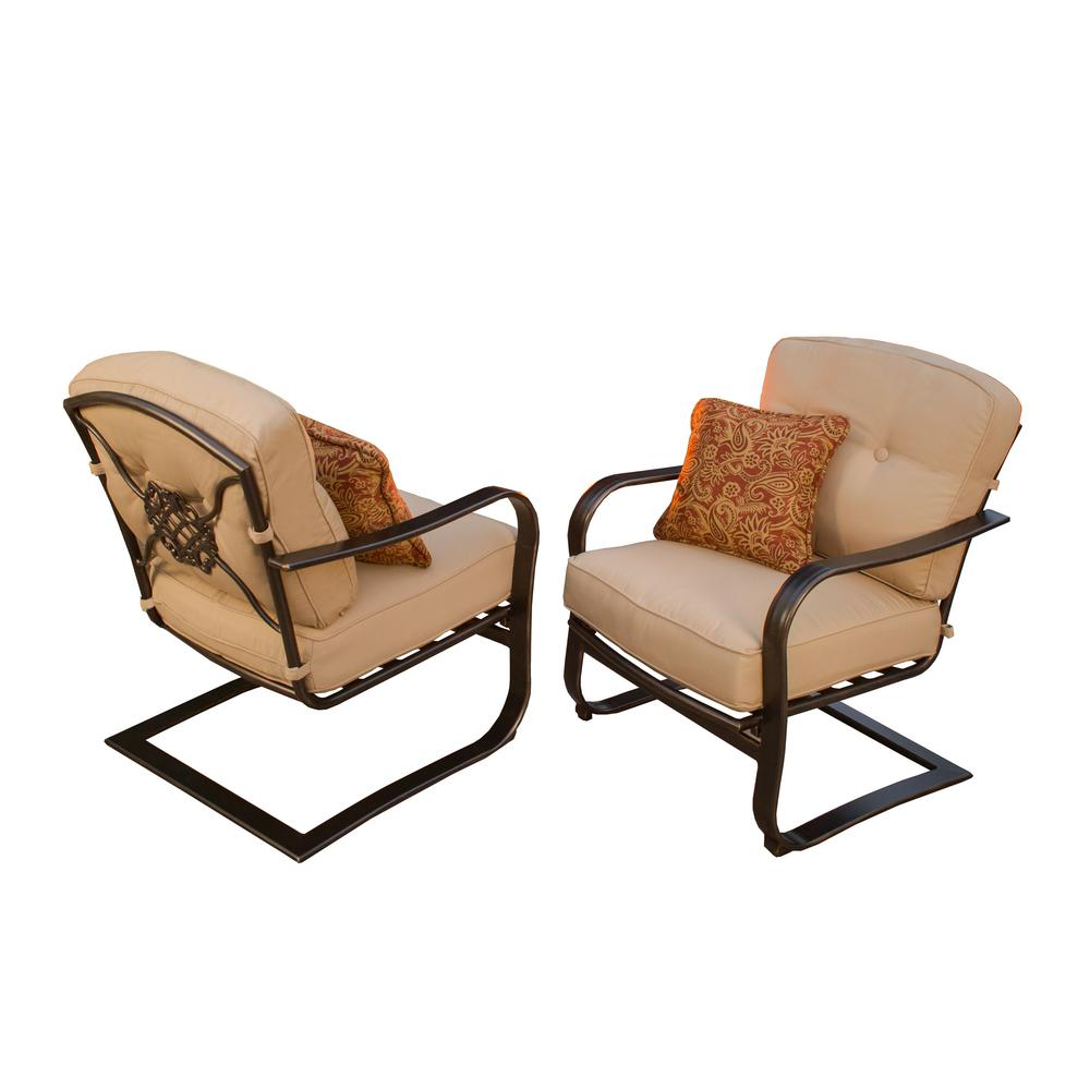 Aluminum Outdoor Lounge Chair with Tan Cushion (2-Pack)