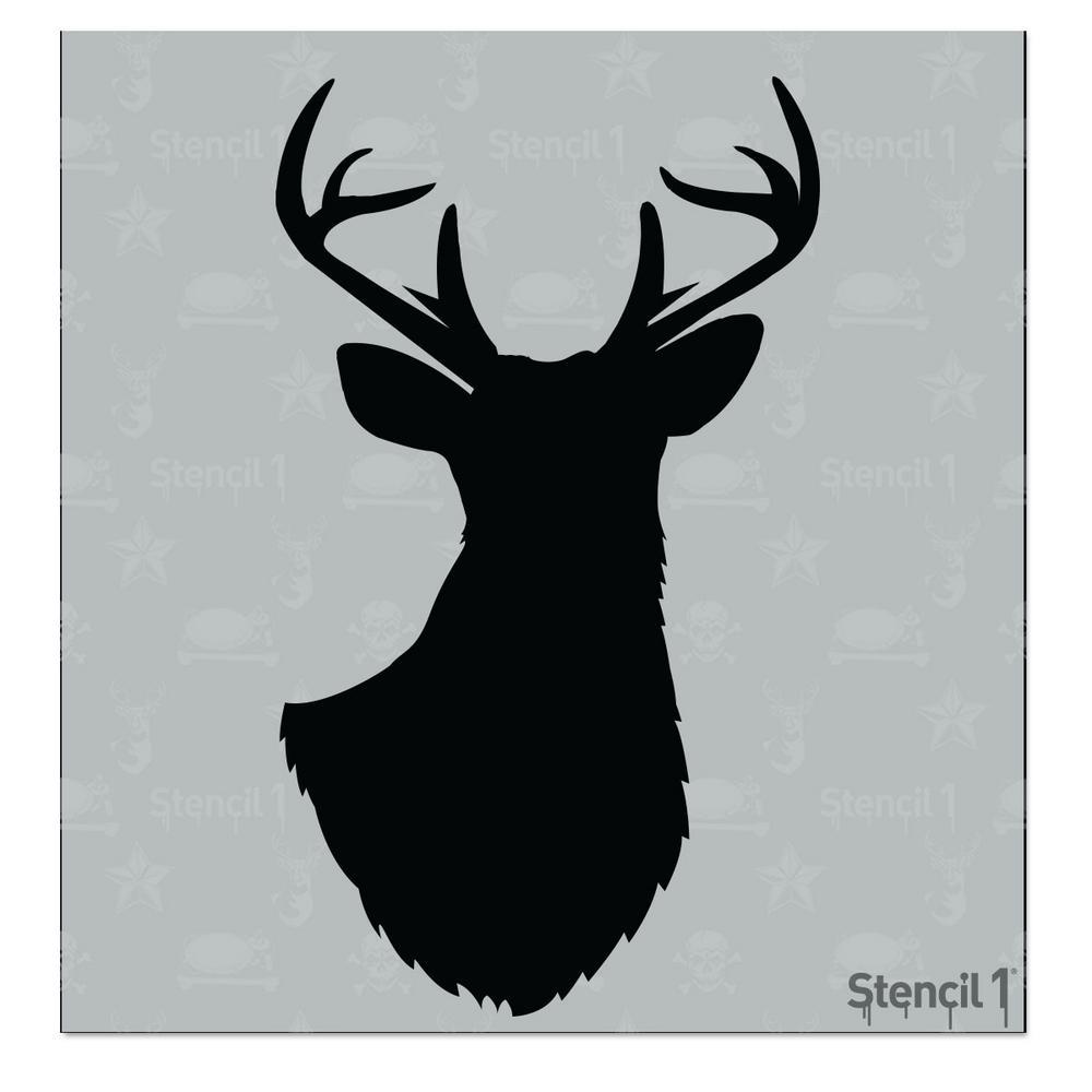 Stencil1 Antlered Deer Silhouette Small Stencil S101deersils