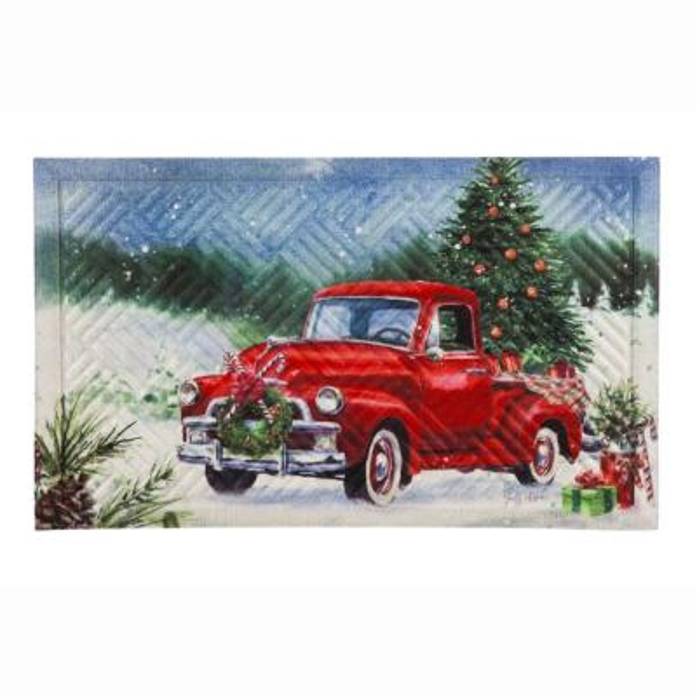 Christmas Farm Pickup 30 in. x 18 in. Embossed Floor Mat