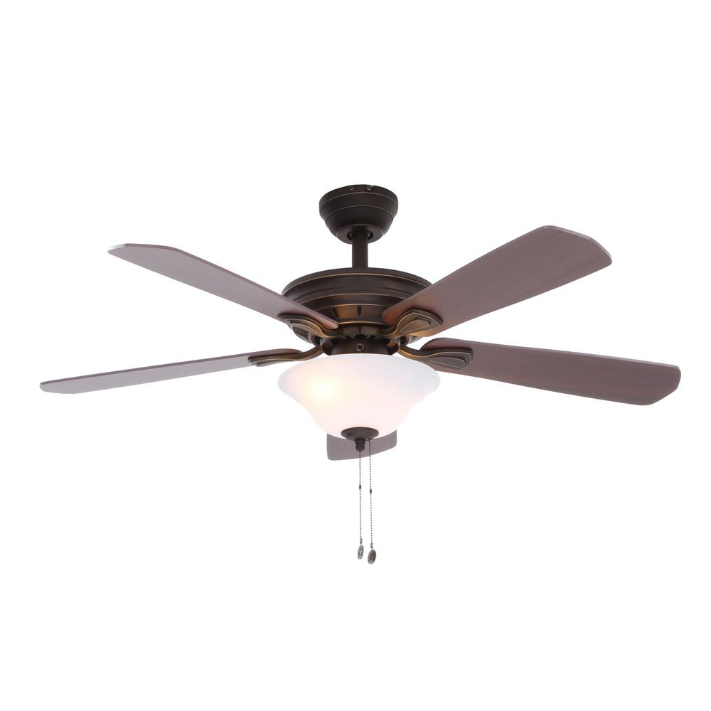 Hampton Bay Wellston 44 In Led Indoor Oil Rubbed Bronze Ceiling Fan With Light Kit