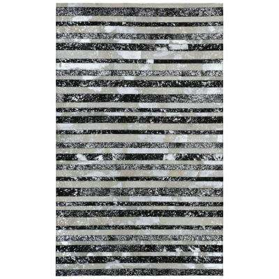 Black with Silver Leather Hair-On 4 ft. x 6 ft. Area Rug