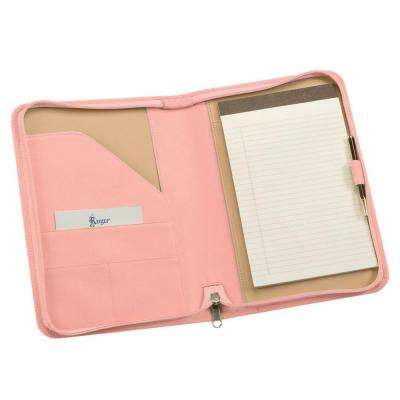 Genuine Leather Zippered Compact Writing Portfolio Organizer, Carnation Pink