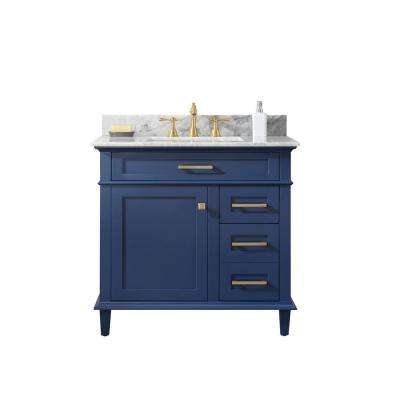 36 in. W x 22 in. D Vanity in Blue with Marble Vanity Top in White with White Basin with Backsplash