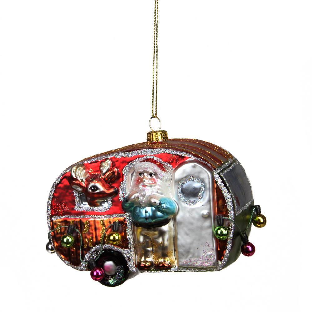 4.5 in. Camper Van Trailer with Santa and Reindeer Glass Christmas Ornament