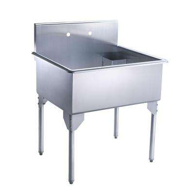 Pearlhaus All-in-One Freestanding Stainless Steel 33-1/8 in. 2-Hole Single Bowl Kitchen Sink in Brushed Stainless Steel
