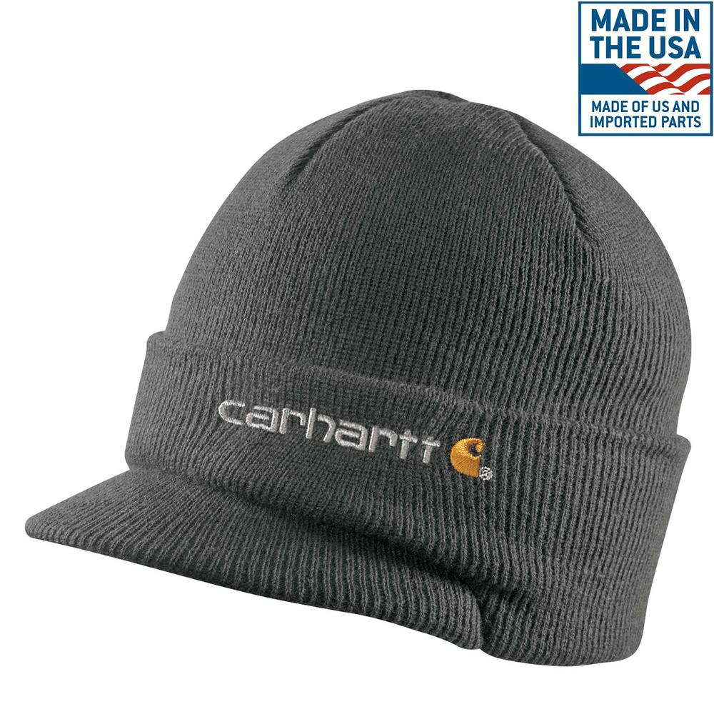 Men's OFA Coal Heather Acrylic Knit Hat with Visor