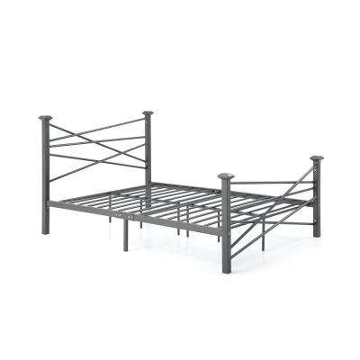 Complete Metal Charcoal Twin Bed with Headboard, Footboard, Slats and Rails