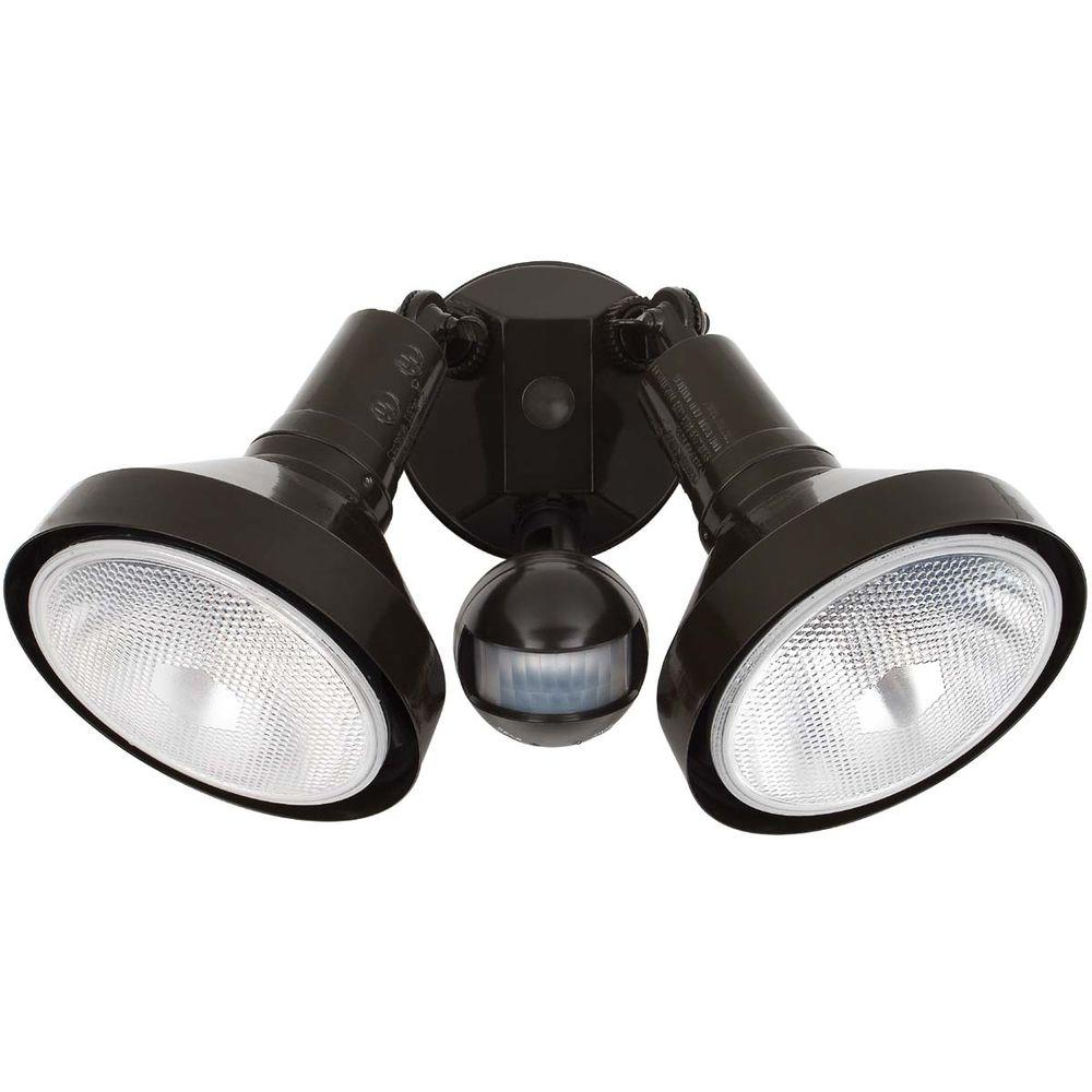 Globe Electric 180 Degree 300-Watt 2-Light Outdoor Dark Brown Motion Sensor Security Light Fixture