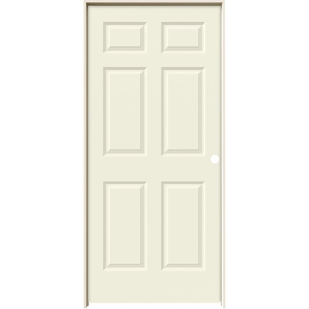 36 in. x 80 in. Colonist Vanilla Painted Left-Hand Smooth Solid