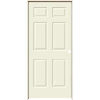 36 in. x 80 in. Colonist Vanilla Painted Left-Hand Smooth Solid Core Molded Composite MDF Single Prehung Interior Door