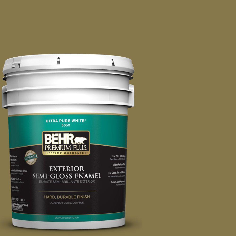 5-gal. #M330-7 Green Tea Leaf Semi-Gloss Enamel Exterior Paint