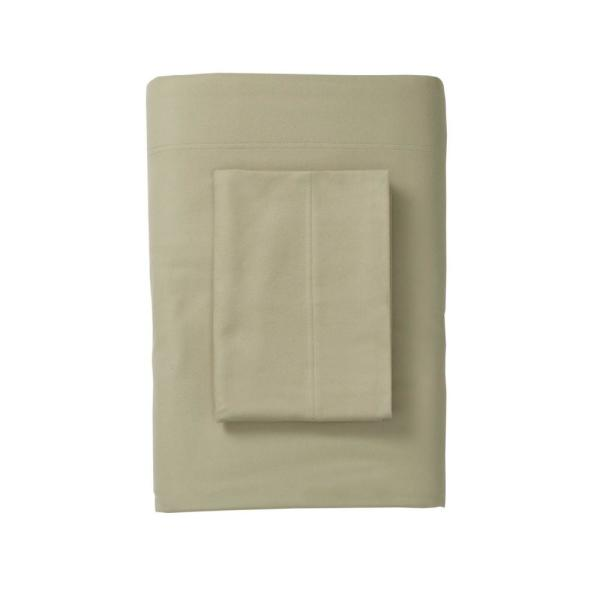 The Company Store Legacy Velvet Flannel Thyme Solid Extra Deep Queen Flat Sheet