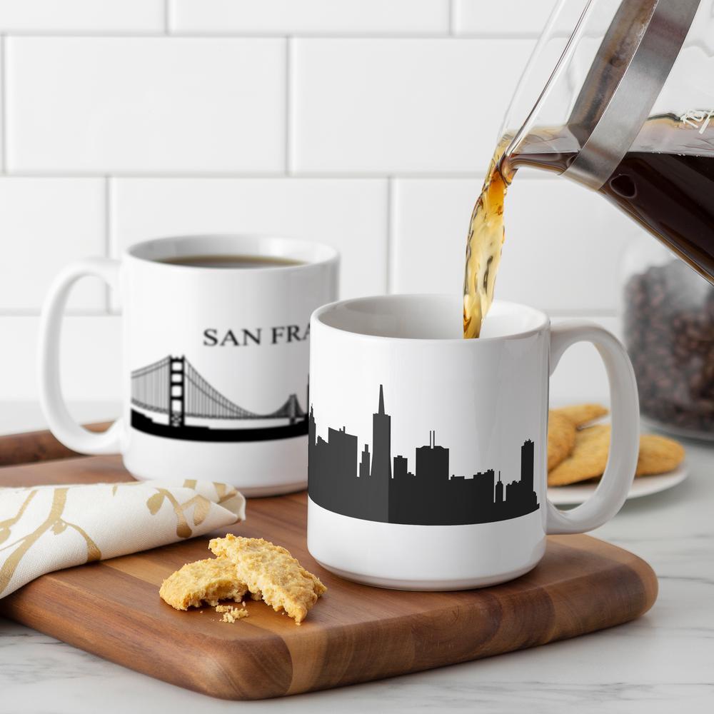San Francisco Skyline 20 oz. White Ceramic Coffee Mugs (Set of 2)