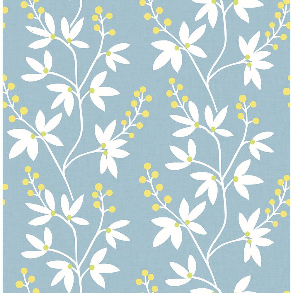 A-Street 56.4 sq. ft. Linnea Elsa Light Blue Botanical Trail Wallpaper