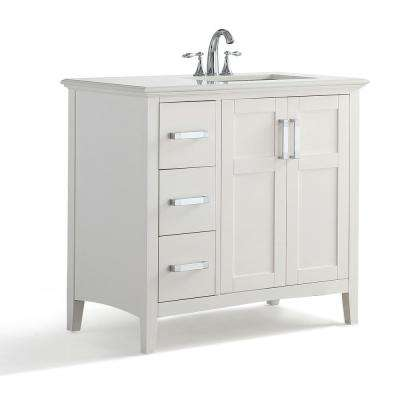 Wilshire 36 in. Bath Vanity in Pure White with Bombay Engineered Quartz Marble Vanity Top in White with White Basin