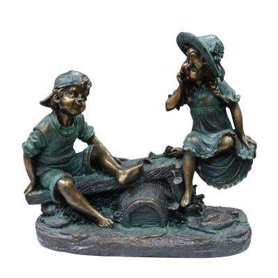 Alpine Corporation Outdoor Decor Girl and Boy Playing on Teeter Totter Statue
