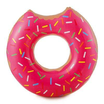 Strawberry Doughnut Inflatable Pool Tube - Novelty Floating Food Swim Ring
