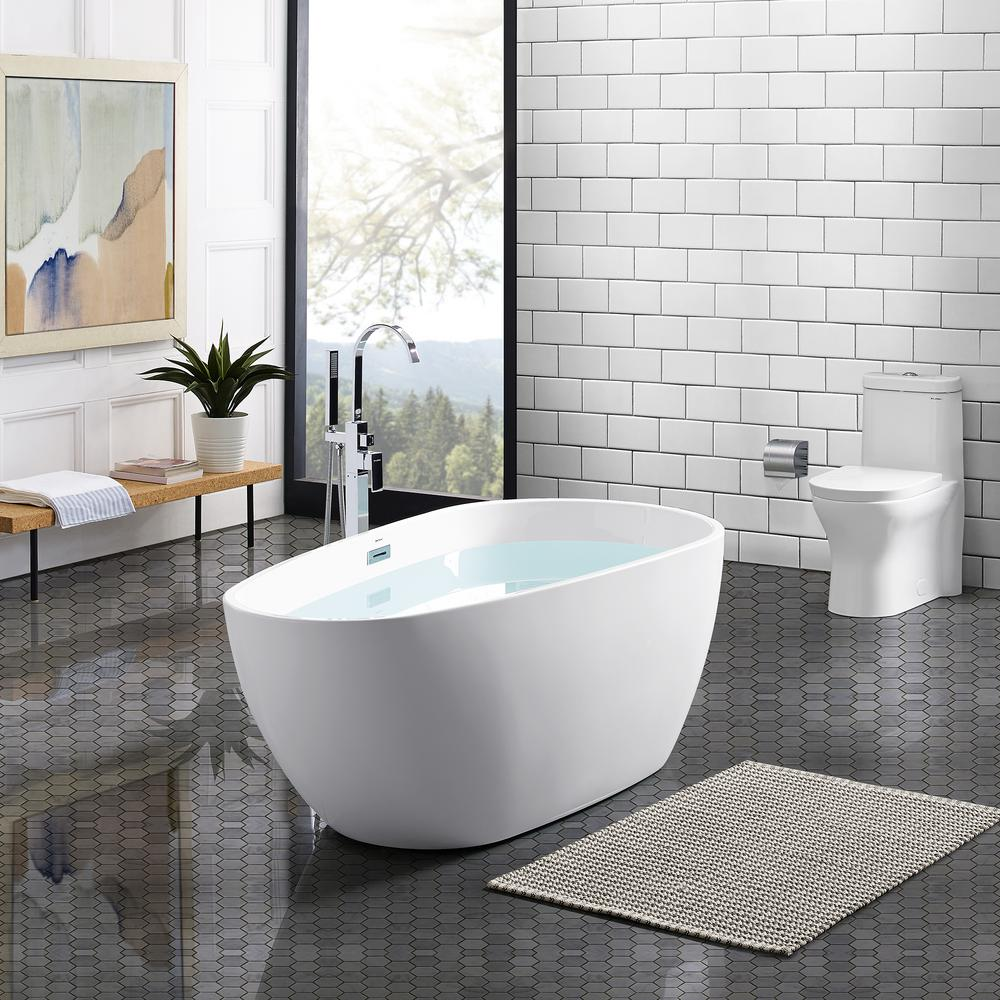 Swiss Madison Monaco 67 in. Acrylic Freestanding Flatbottom Non-Whirlpool Oval Soaking Bathtub in White