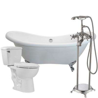 Aegis 68.75 in. Acrylic Clawfoot Non-Whirlpool Bathtub with Tugela Faucet and Author 1.28 GPF Toilet
