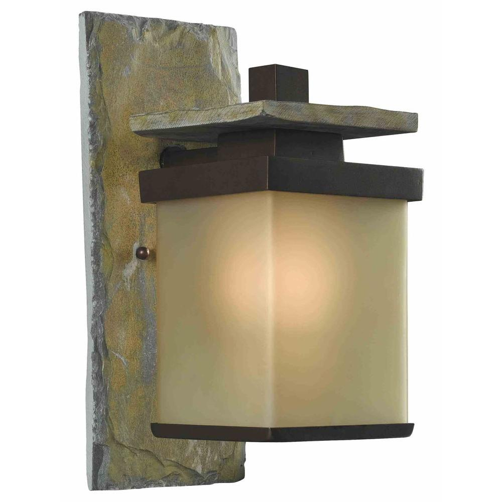 Hampton Bay Quarry 1-Light Natural Slate Outdoor Wall Lantern