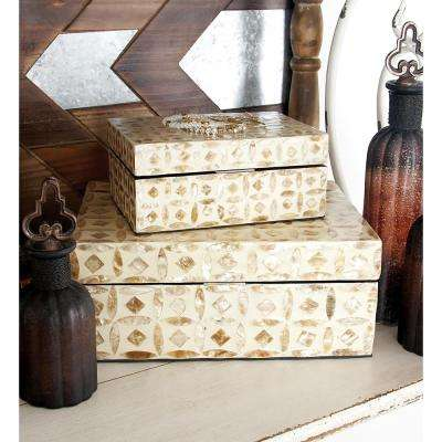 MDF Multiple Decorative Boxes with Beige and Brown Square and Lens-Shaped Mother of Pearl Tile Inlay (Set of 2)