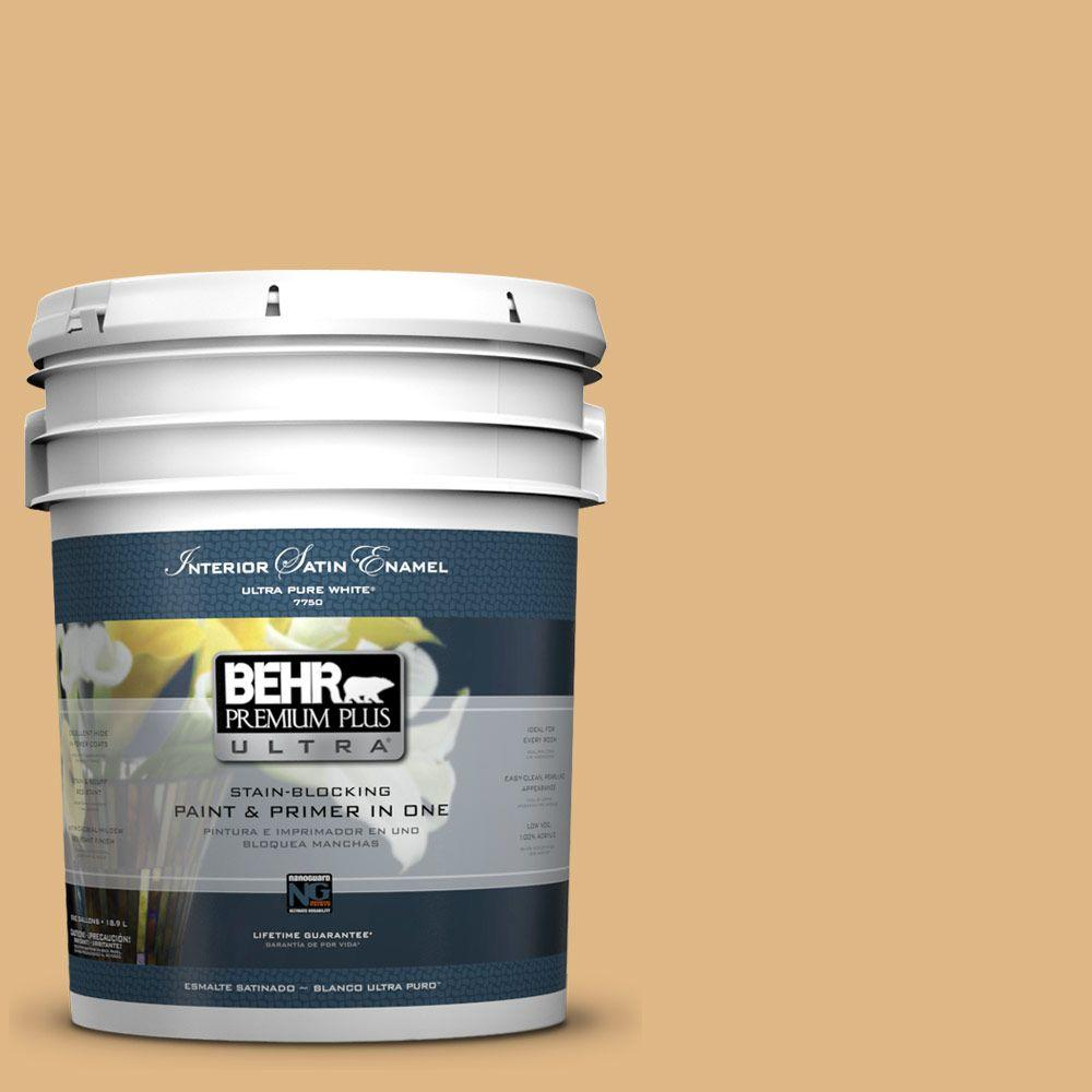 BEHR Premium Plus Ultra Home Decorators Collection 5-gal. #HDC-CL-18 Cellini Gold Satin Enamel Interior Paint