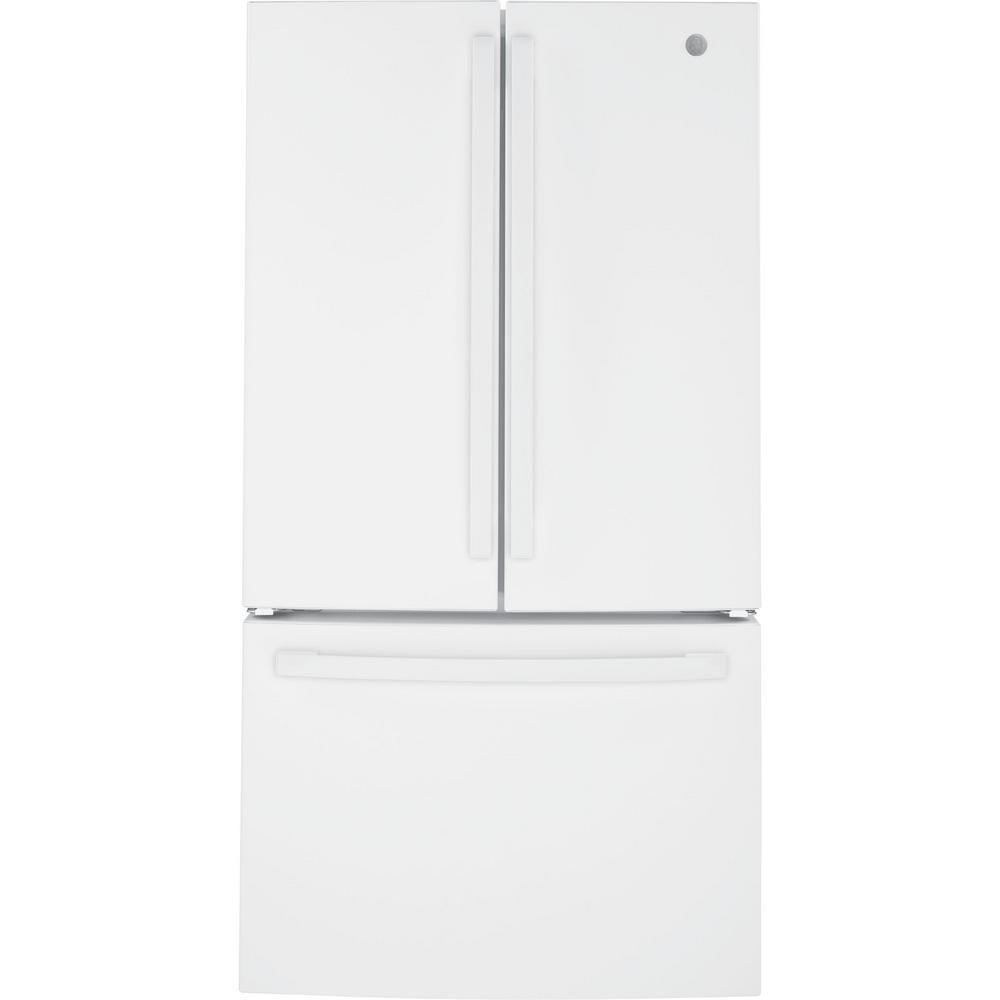 Ge 27 Cu Ft French Door Refrigerator In White Energy Star Gne27jgmww The Home Depot