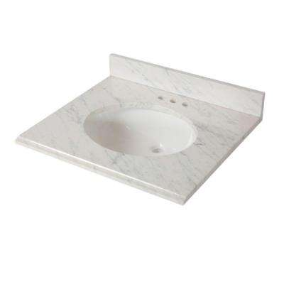 25 in. W x 22 in. D Stone Effects Vanity Top in Cascade with White Sink