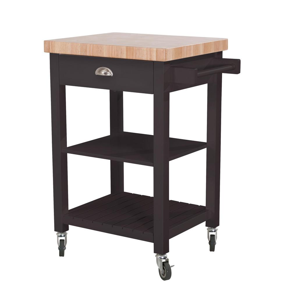 wood towel bar. Hampton Bay Bedford Charcoal Body With Wood Top Kitchen Cart 1 Drawer 2 Shelves And Towel Bar L