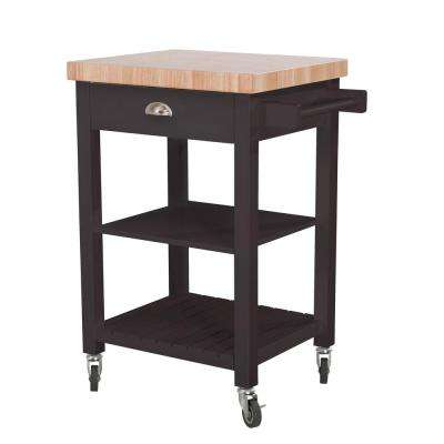 Bedford Charcoal Body with Wood Top Kitchen Cart with 1 Drawer 2 Shelves and 1 Towel Bar