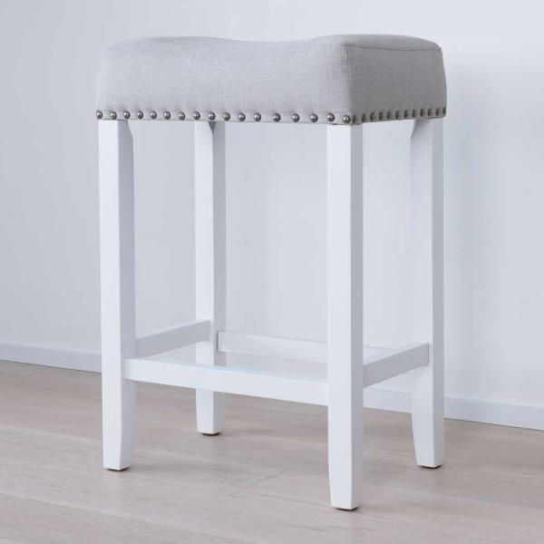 Hylie 24 in. Gray Fabric Cushion White Finish Nailhead Wood Pub-Height Counter Bar Stool