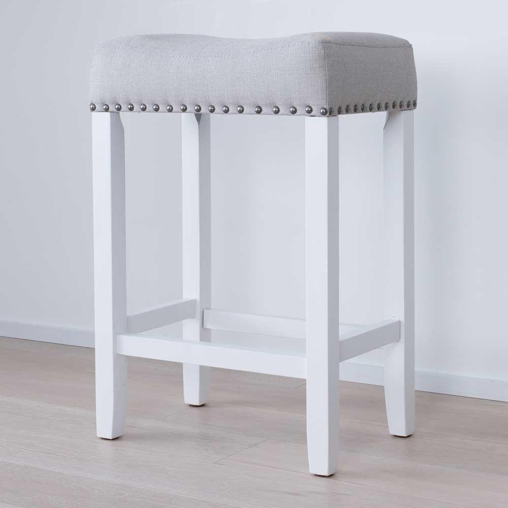 Hylie 24 in. Gray Fabric Cushion White Finish Nailhead Wood Pub-Height Counter Bar Stool