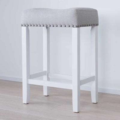 Hylie Nailhead 24 in. White and Gray Cushioned Bar Stool