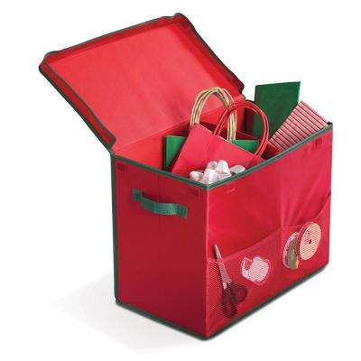 14 in. Red Holiday Gift Bag Storage Box with 2 Mesh Front Pockets