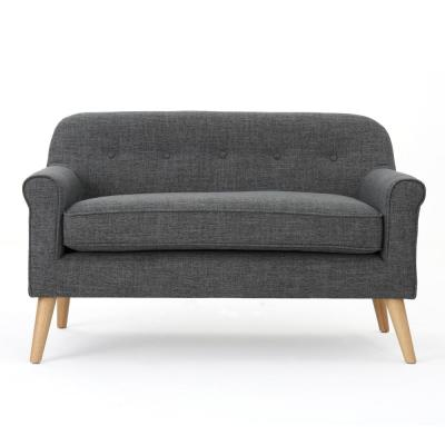 49.8 in. Gray Polyester 2-Seater Loveseat with Tapered Wood Legs